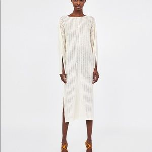 Zara Long Rustic Tunic Off White with Cross Back